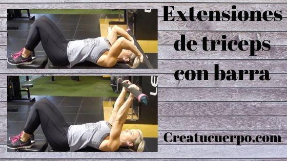 Extensiones de tríceps con barra, ejercicios Fitness