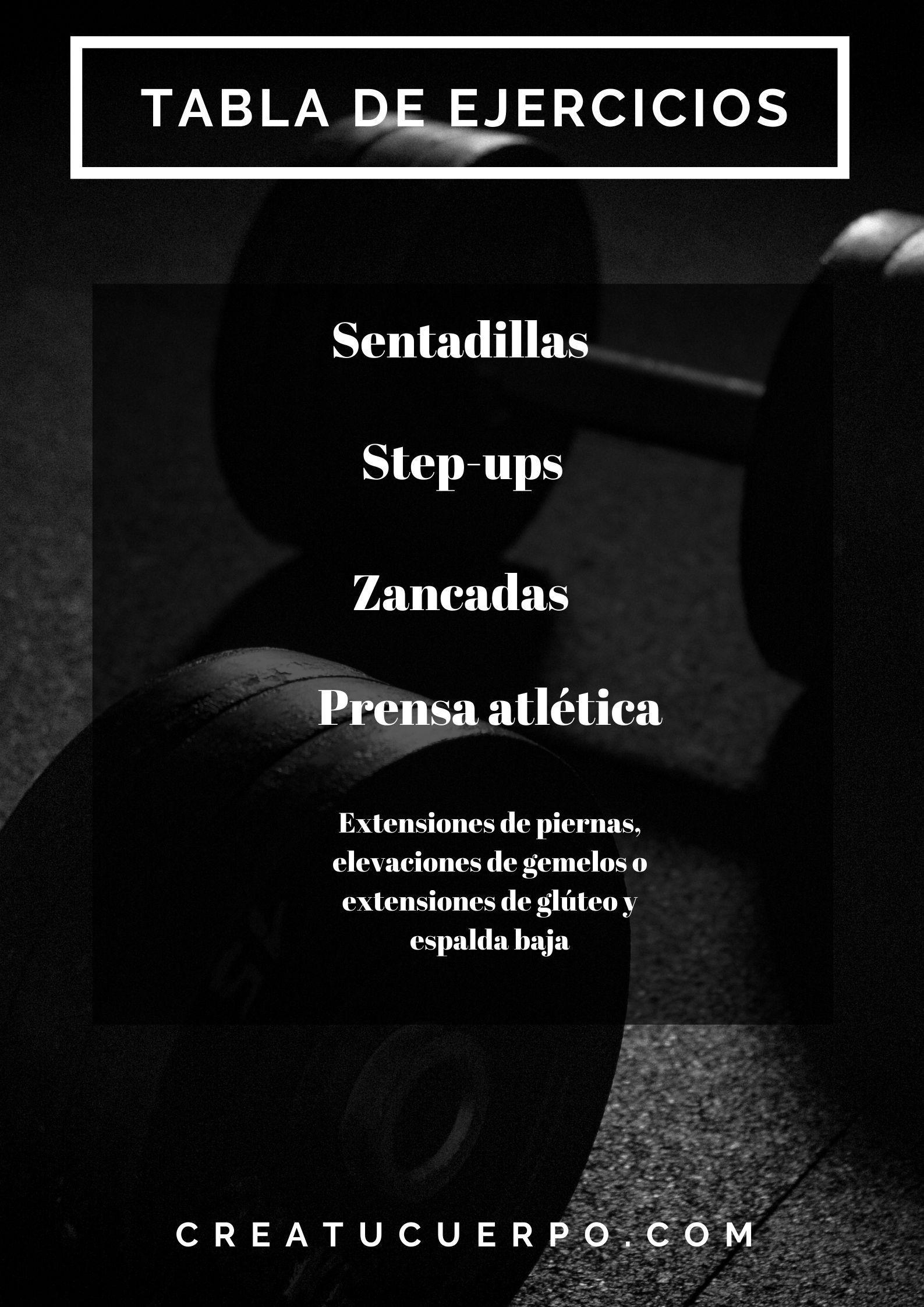 Infografía de tabla y rutina de ejercicios para aumentar caderas y glúteos