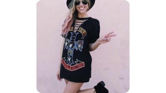camisetas rockeras, chica tumblr con gorra