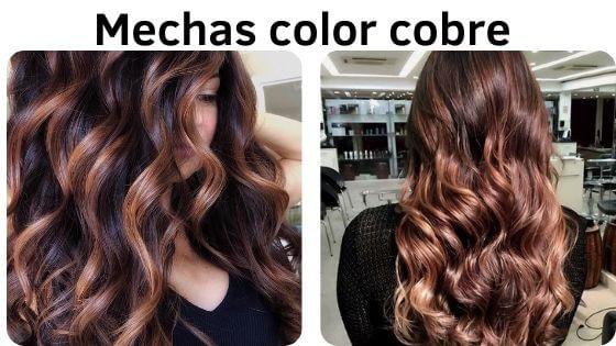 pelo negro con mechas color cobre
