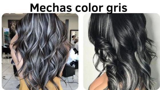 Pelo negro con mechas color gris