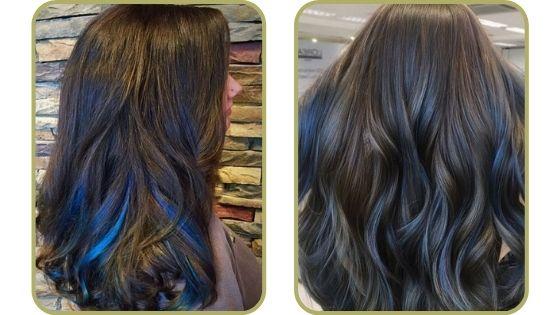 mechas azules en pelo castaño