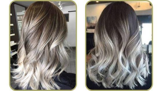 pelo castaño con mechas blancas