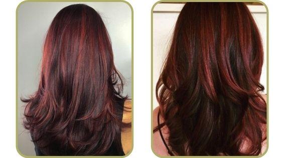 mechas rojas en pelo castaño